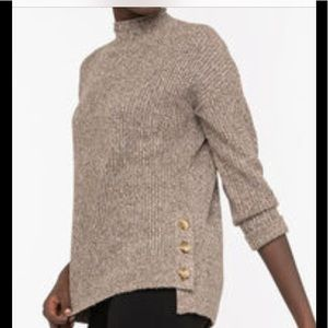 Eco Friendly Mock Neck Sweater- Brown Mix